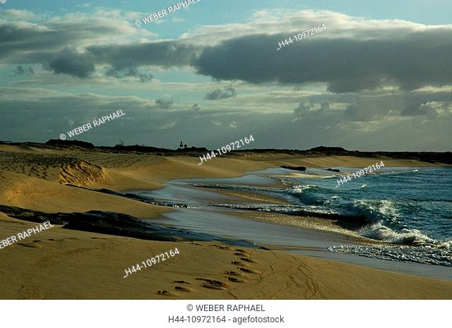 Ascension, Ascension Island, coast, sand beach, waves, evening, sand, beach, seashore, sea