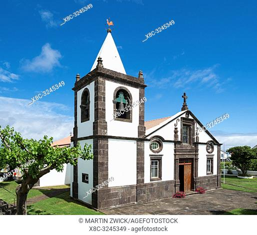 The church in Topo. Sao Jorge Island, an island in the Azores (Ilhas dos Acores) in the Atlantic ocean. The Azores are an autonomous region of Portugal