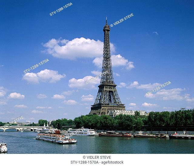 Boats, Eiffel, Eiffel tower, France, Europe, Holiday, Landmark, Monument, Paris, River, Tourism, Tourist, Tower, Travel, Vacatio