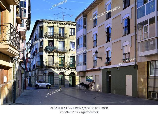 View for Calle Real Aquende from Plaza Sta. María near Plaza de España, Miranda de Ebro - historic part of the city, Burgos province, Castile and León
