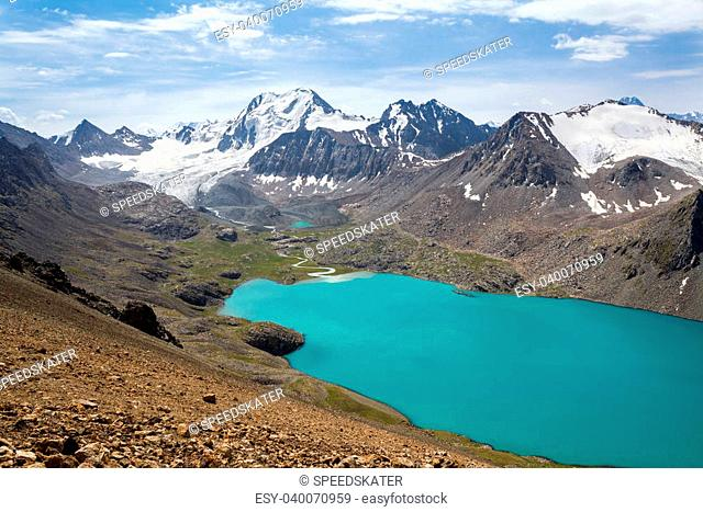 Mountain lake and mountain with glacier