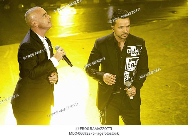 Italian singers Eros Ramazzotti and Luis Fonsi during the fifth and last evening of the 69th Sanremo Music Festival. Sanremo (Italy), February 9th, 2019