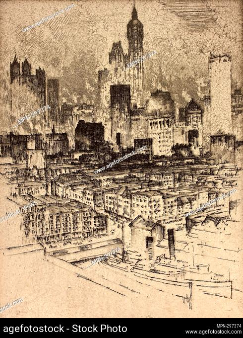 Author: Joseph Pennell. New York, from Brooklyn Bridge - 1908 - Joseph Pennell American, 1857-1926. Etching on cream laid paper. United States
