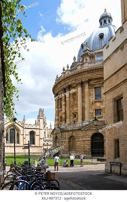 Bicycles parked in Brasenose Lane near the Radcliffee Camera and All Souls College Oxford