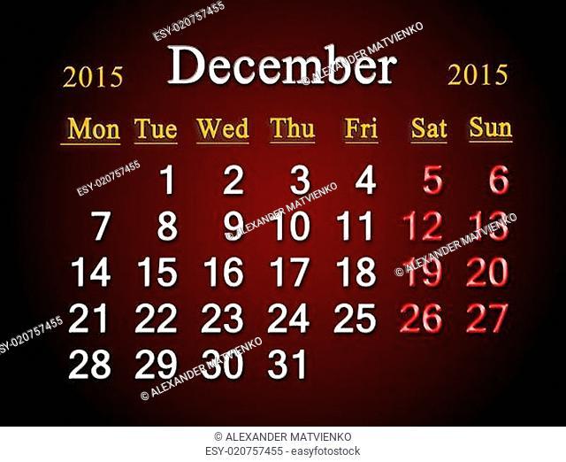 calendar on December of 2015 year on claret