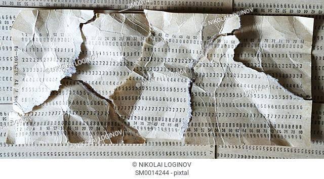 Horizontal crumpled punched card composition