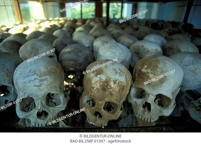 Death's-heads in the historical museum of the Killing Fields with Choeung Ekausserhalb of the capital of Phnom Penh inKambodscha in southeast Asia