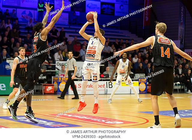 Mechelen's Terry Deroover pictured in action during the basketball match between Kangoeroes Mechelen vs Leuven Bears, Friday 06 December 2019 in Mechelen