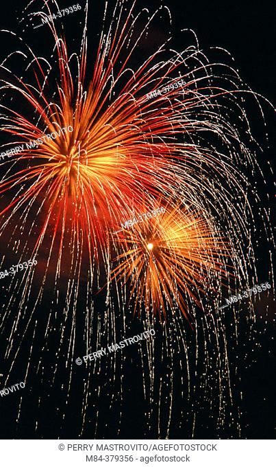 Red, gold and white fireworks. Beauport. Quebec, Canada