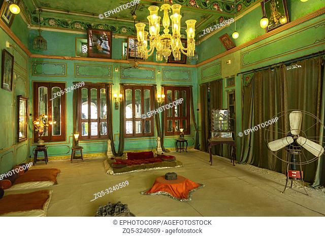 Decorated royal room, City Palace, Udaipur, Rajasthan