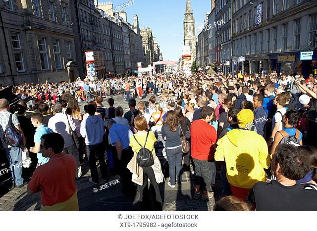 street performer in the centre of edinburgh scotland uk united kingdom
