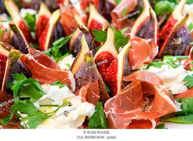 Fig, cured ham and mozzarella salad