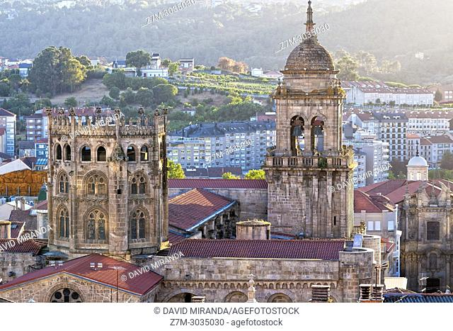 View of Romanesque Cathedral of San Martín from mirador de San Francisco. Ourense. Galicia. Spain