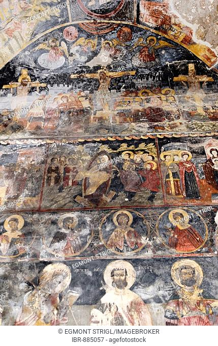 Medieval frescoes on the ceiling of St. Mary's Church, Kisha e Shen Marise, Voskopoje, Albania, Balkan Range, Europe
