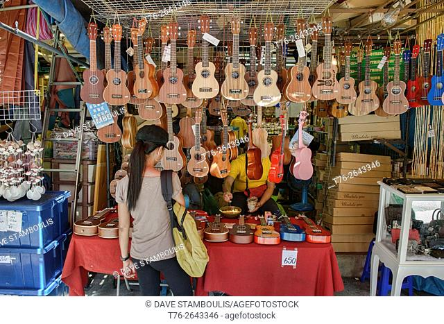 Ukelele shop at Chatuchak Market in Bangkok, Thailand