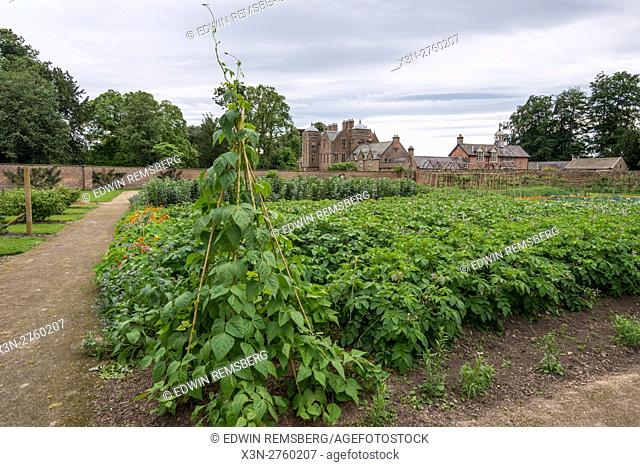 UK, England, Yorkshire - Gardens and old architecture on the grounds of the historic Kiplin Hall in Yorkshire, England