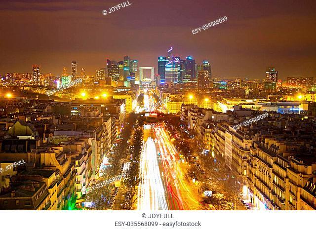 Skyline of Paris. View from Arc de Triomphe towards Paris business district Defense