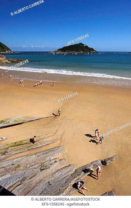 La Concha Beach, Santa Clara Island, San Sebastián, Donostia, Guipuzcoa, Basque Country, Spain
