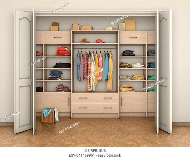 Empty Room Interior And Closet With Clothes Ilration
