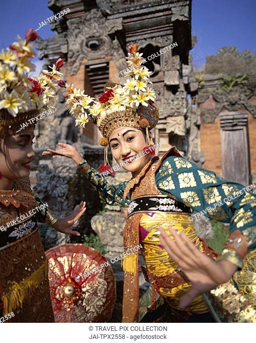 Legong Dancers / Women Dressed in Traditional Dancing Costume, Bali, Indonesia