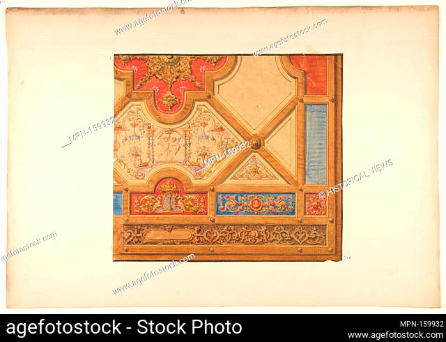 Partial design for the decoration of a ceiling in geometric panels painted with putti, masks., and griffins. Artist: Jules-Edmond-Charles Lachaise (French