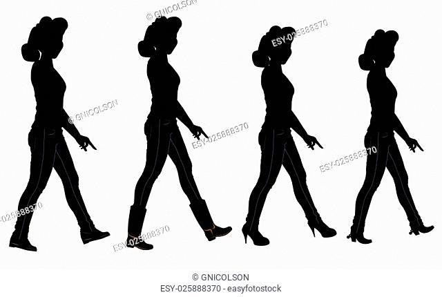 ladies walking in various shoe styles in silhouette