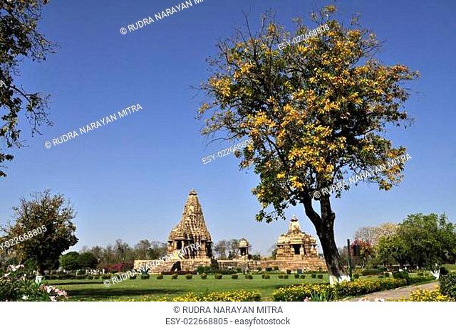 Devi Jagadambi Temple - left and Chitragupta Temple, temples of Khajuraho, Madhya Pradesh, India