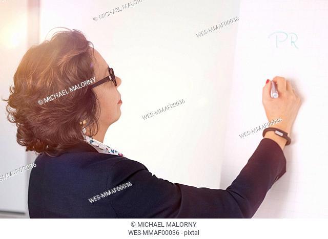 Senior businesswoman writing on flipchart