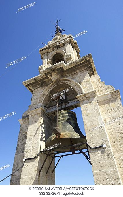 View of the bell located in the tower of Valencia Cathedral in Spain