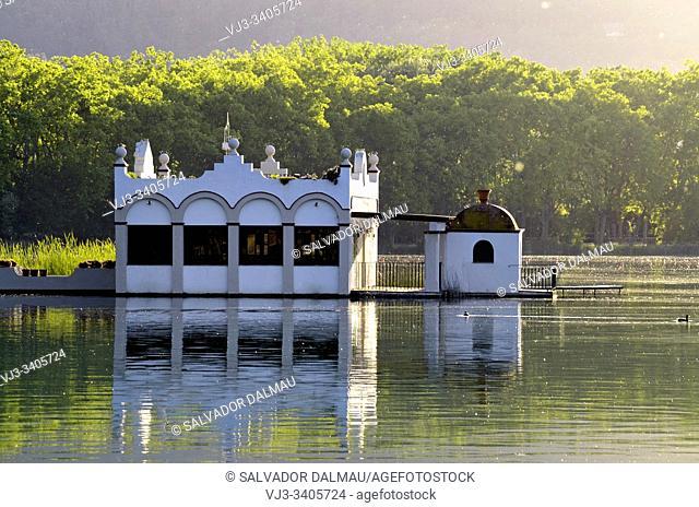 fishing cabin on the lake of banyoles, girona, catalonia, spain