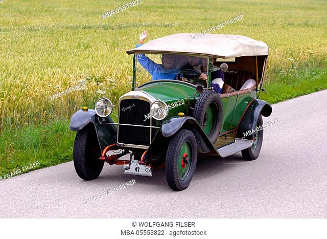 Old-timer rally 'Herkomer contention' in Landsberg in Lech for at least 80 year-old cars, here close Peugeot SHEET 177, year of manufacture in 1923