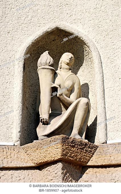 Burning torch, sculpture, urn tower, crematorium, Hauptfriedhof main cemetary, Dortmund, Ruhrgebiet region, North Rhine-Westphalia, Germany, Europe
