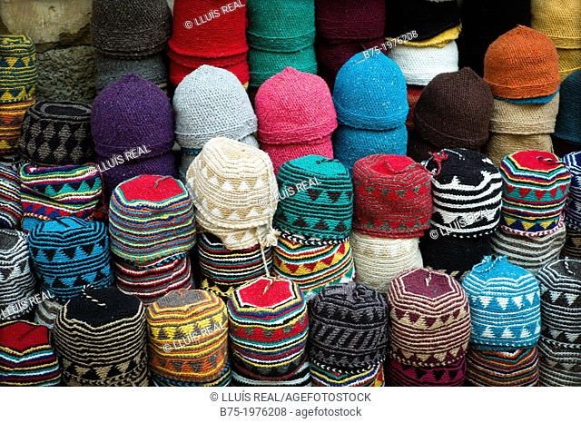 Exposure, of Taqiyah, Typical caps, in a street market of Essaouira, morocco africa