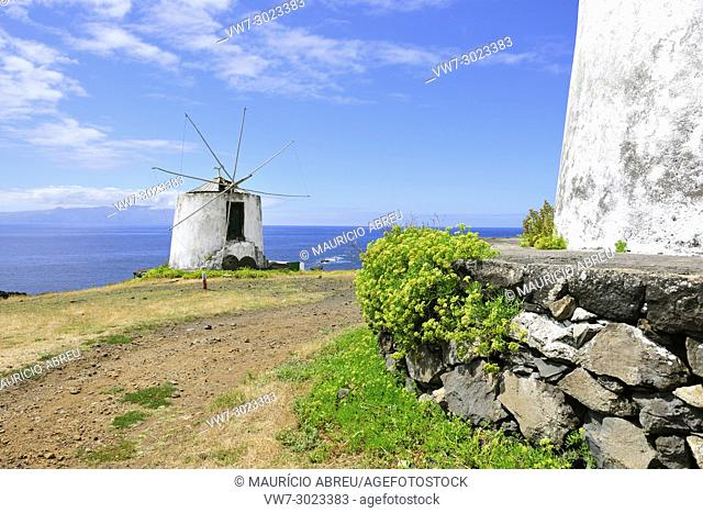 Windmill in Vila Nova do Corvo. Azores islands, Portugal