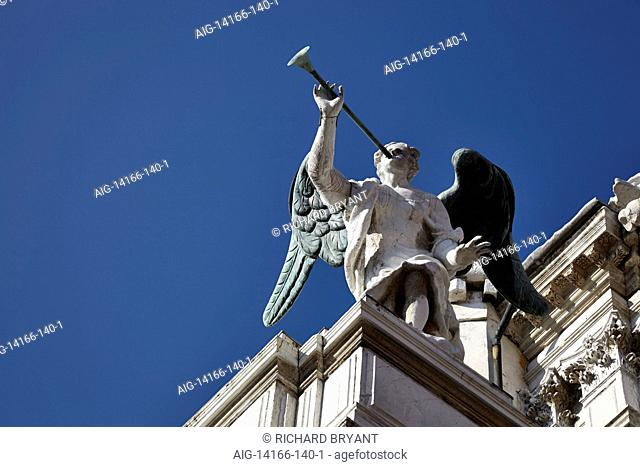 Detail of angel with trumpet, Venice, Italy