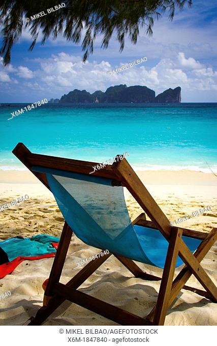 Deckchair on Long beach  Phi Phi Don island  Krabi province, Andaman Sea, Thailand