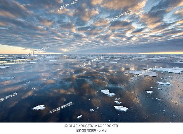Reflection, ice floes, edge of the pack ice, Arctic Ocean, Spitsbergen, Svalbard Islands, Svalbard and Jan Mayen, Norway