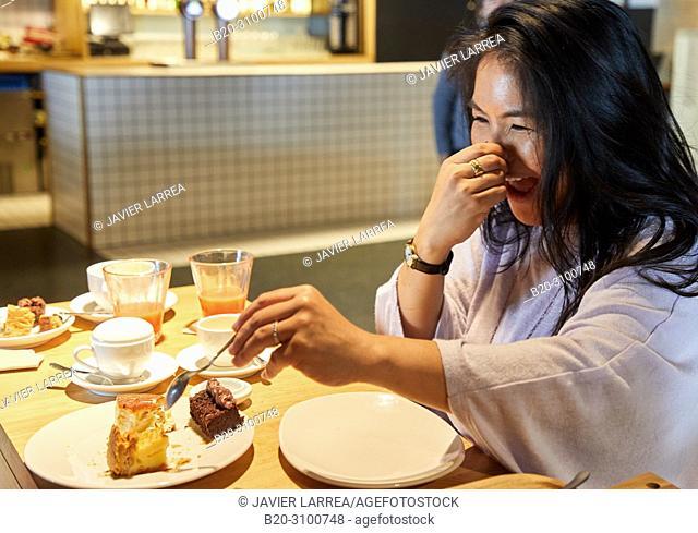 Breakfast in Cafe Tabakalera, Gastronomic tour, Donostia, San Sebastian, Gipuzkoa, Basque Country, Spain, Europe