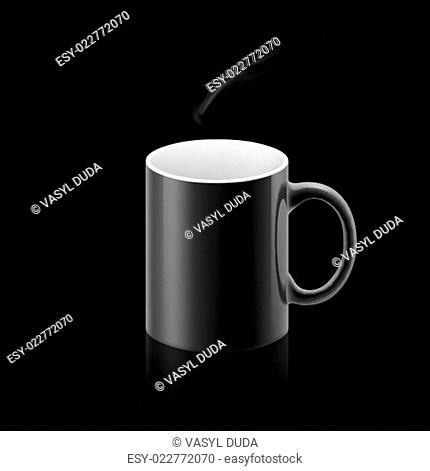Black mug on black background