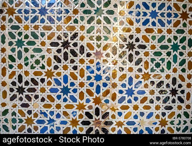 Mosaic, geometric pattern, Real Alcázar de Sevilla, Santa Cruz, Sevilla, Andalusia, Spain, Europe