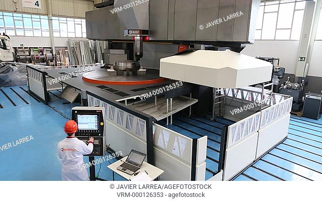 Machining Center. CNC. Vertical lathe for machining components hydroelectric turbines. Design, manufacture and installation of machine tools