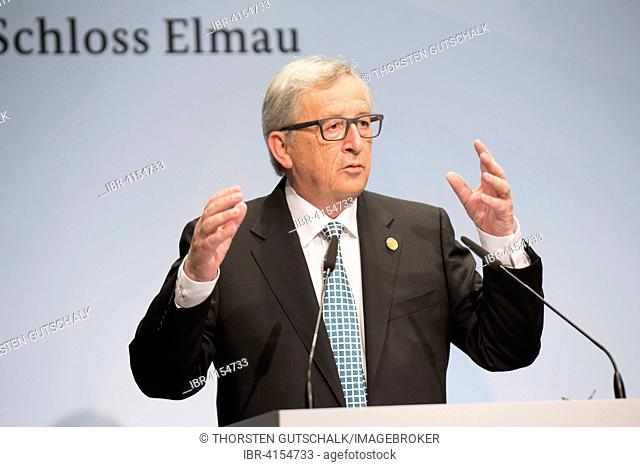 President of the European commission, Jean-Claude Juncker, at the joint press conference with the President of the European council, Donald Tusk, Schloss Elmau