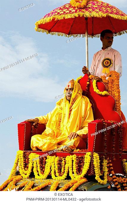 Sadhu during the first royal bath procession in Kumbh Mela festival, Allahabad, Uttar Pradesh, India