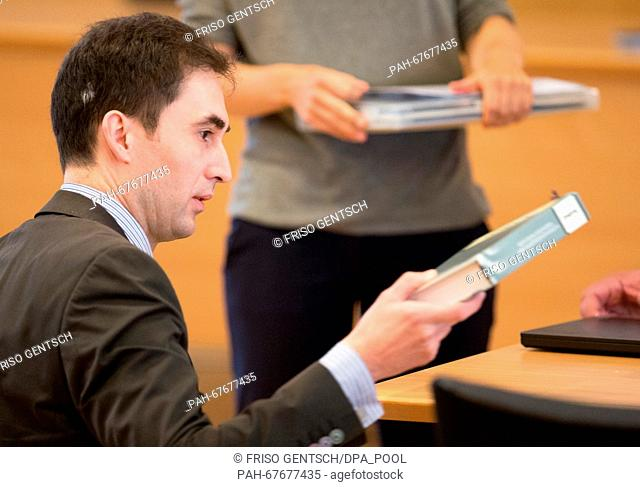 The expert for NS history, Stefan Hoerdler, attends another day of trial against defendant Reinhold Hanning in Detmold, Germany, 22 April 2016
