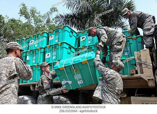 Soldiers of the 82nd Airborne, US Army distribute aid in Port au Prince, Haiti following the earthquake of January 2010