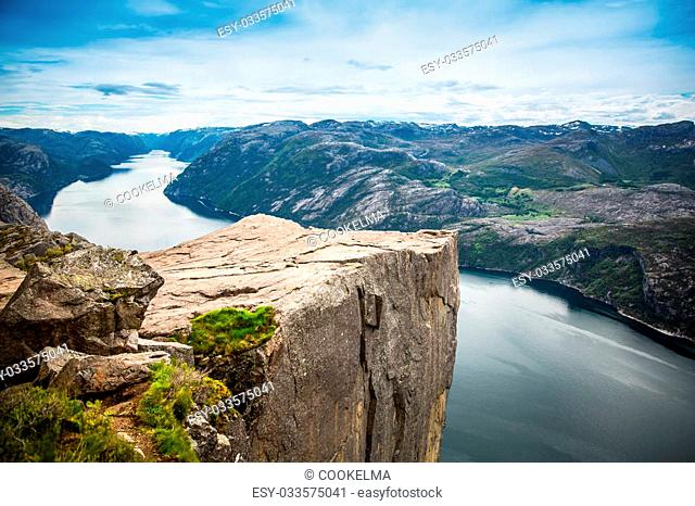 Preikestolen or Prekestolen, also known by the English translations of Preacher's Pulpit or Pulpit Rock, is a famous tourist attraction in Forsand, Ryfylke