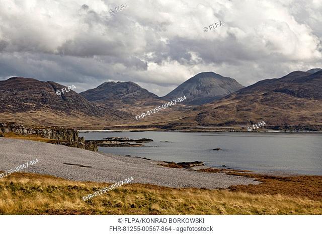 View of raised beach and sea loch, with Corra Bheinn and Beinn Shiantaidh, Paps of Jura in background, Ruantallan, Loch Tarbert, Isle of Jura, Inner Hebrides