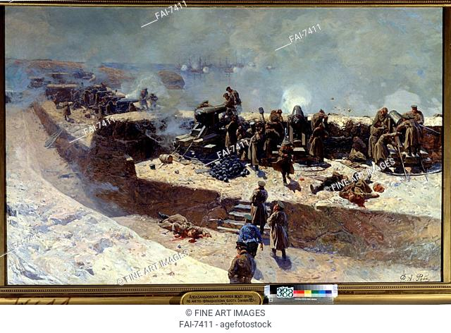 The Alexander battery attacking the English-French fleet on October 5, 1854. Roubaud, Franz (1856-1928). Oil on canvas. Russian Painting