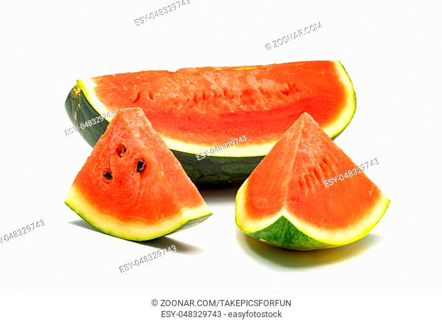 Parts of fresh watermelon isolated on white background