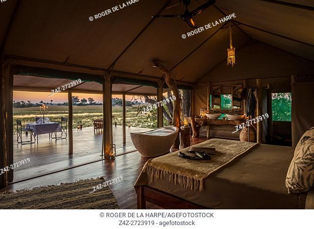 Tented accommodation at Macatoo Camp. African Horseback Safaris. Okavango Delta. Botswana